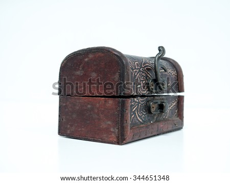 old fashion small box  to collect treasure. a container craft by wood, metal and leather.