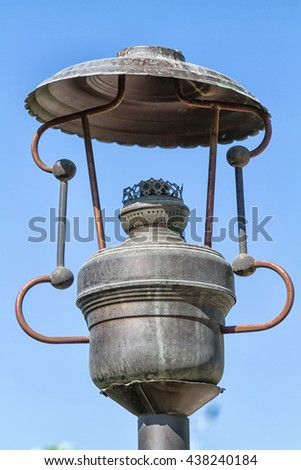 Old fashion street gas lamp - stock photo