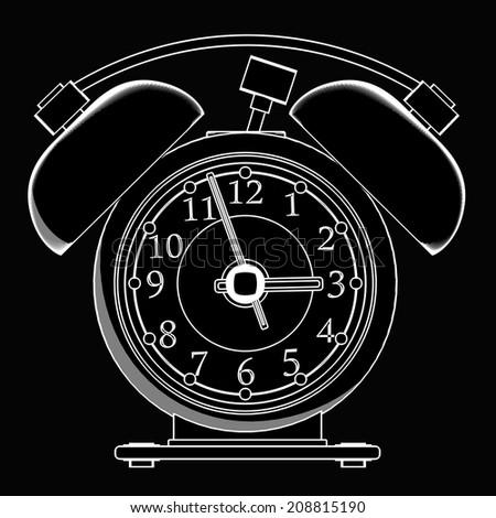 Old-fashioned alarm clock. black cartoon illustration outline. High resolution 3D  - stock photo