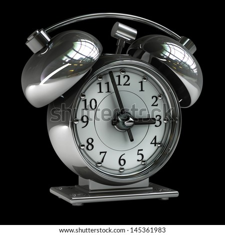Old-fashioned alarm clock isolated on a black background. High resolution. 3D image