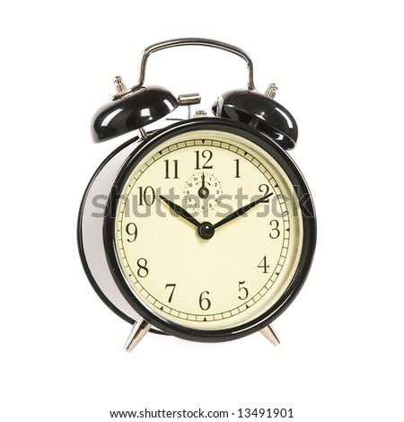 Old-fashioned alarm clock isolated on white background [with clipping path] - stock photo