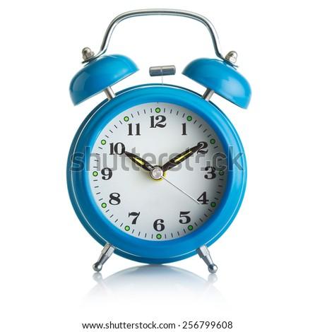 Old-fashioned alarm-clock on white background - stock photo
