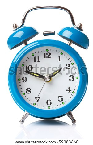 Old fashioned alarm clock on white background - stock photo