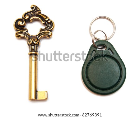 old-fashioned and modern keys isolated on white - stock photo