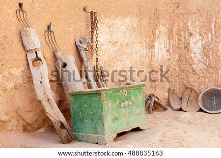 Old-fashioned Berbers kitchen utensils and things. Cave-dwellers. Tunisia. Africa