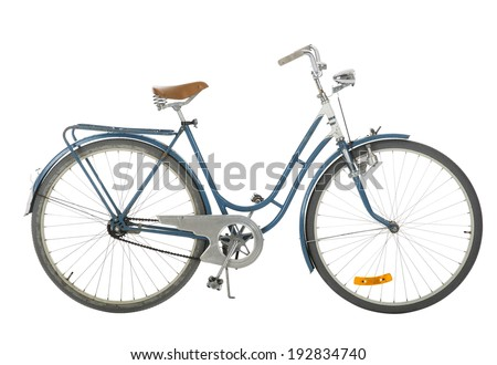 Old fashioned bicycle isolated on white background - stock photo