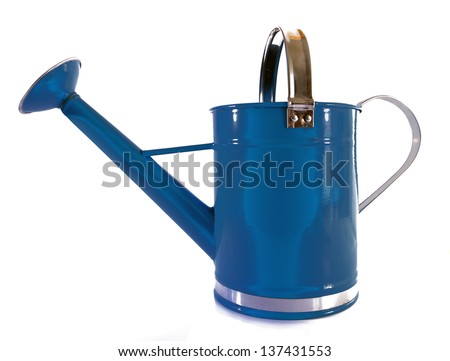 Old fashioned blue metal watering can with sprinkler