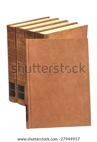 Old fashioned books in brown. Free space to put your own tittle - stock photo