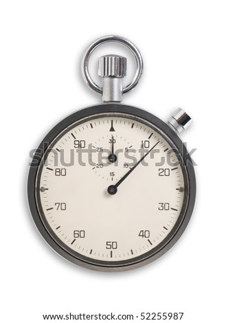 Old fashioned chronometer isolated on white, clipping path. - stock photo