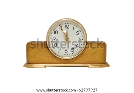 Old-fashioned clock isolated on a white background