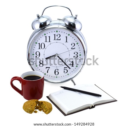 Old fashioned clock with cookies, red mug, book and pencil isolated - stock photo