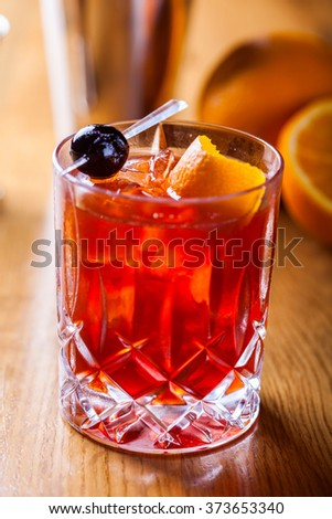 Old fashioned cocktail - stock photo