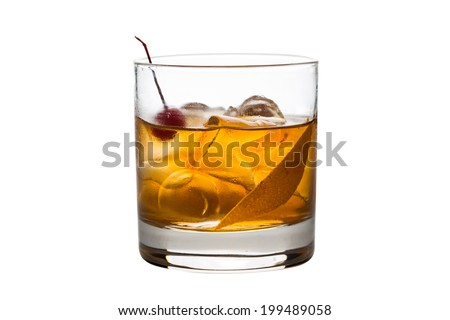 Old fashioned cocktail isolated on white background