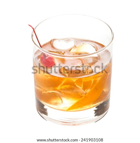 Old fashioned cocktail isolated on white background - stock photo