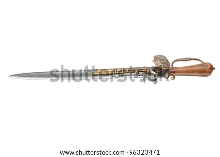 old fashioned dagger that has a pistol mounted on the blade, isolated on white - stock photo