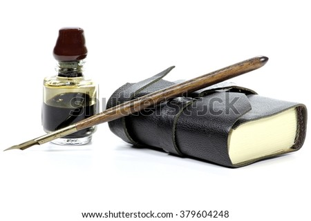 old fashioned diary with dip pen and inkwell  isolated on white background - stock photo