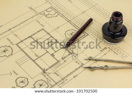 Old fashioned drawing tools - stock photo