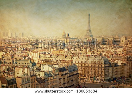 old-fashioned Eiffel Tower paris france -  with space for text or image - stock photo