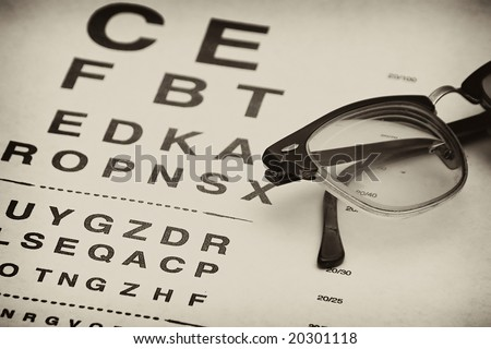 old fashioned eyeglasses laying on top of eyechart test - stock photo