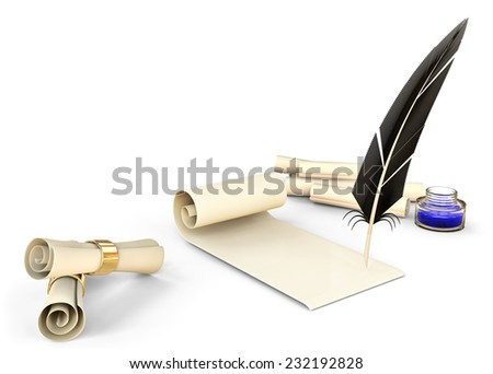 old-fashioned feather with ink and blank scrolls for writing business correspondence letters at old times - stock photo