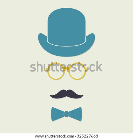 Old fashioned gentleman accessories icons set: hat, glasses, mustache and bowtie. Vintage design.  - stock photo