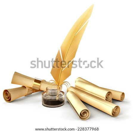 old-fashioned gold feather with ink and blank scrolls for writing business correspondence letters at old times - stock photo