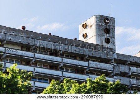 Old fashioned high rise city building  - stock photo
