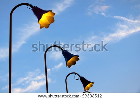 Old fashioned lamp posts - stock photo