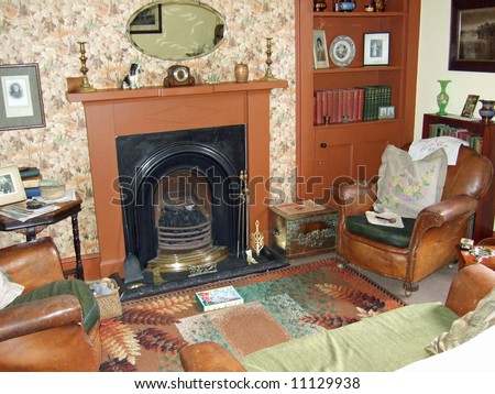old-fashioned living room - stock photo