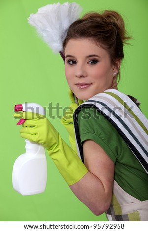 old fashioned maid - stock photo