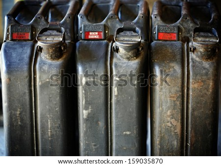 Old-fashioned military style jerrycan background - stock photo