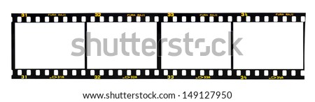 Old fashioned 35mm filmstrip isolated on white background. Brand name Fura Raji is not real, created by artist - stock photo