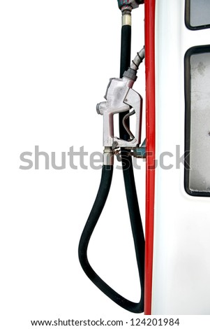 Old fashioned nozzle and hose on petrol pump isolated on white - stock photo