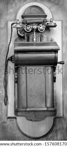 Old-fashioned phone. 1981. Madeira  - stock photo