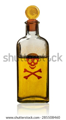 Old fashioned poison bottle, isolated, clipping path.  - stock photo