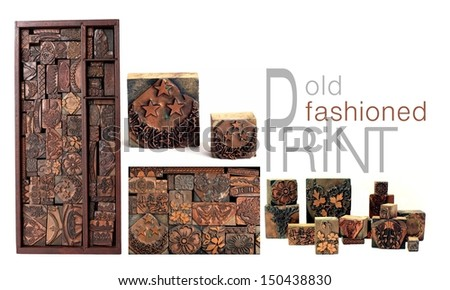 Old Fashioned Print & Antique Graphic Design Letterpress Printing Blocks - stock photo