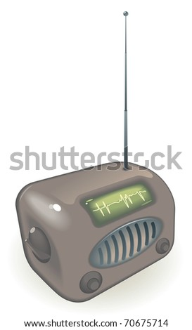Old-fashioned radio with antenna. Raster version. Vector version is also available. - stock photo