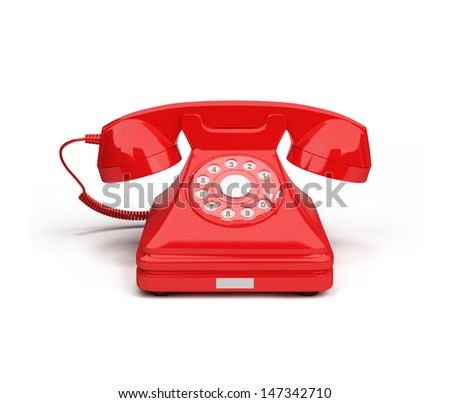 Old-fashioned red telephone. 3D image. White background. - stock photo