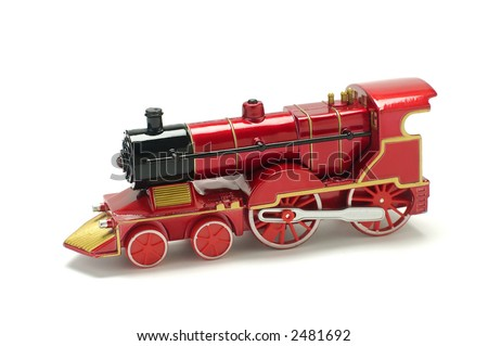 Old fashioned red train isolated on white - stock photo