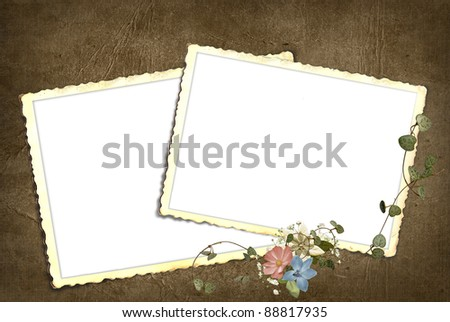 old-fashioned snapshot frames with floral bouquet and ivy