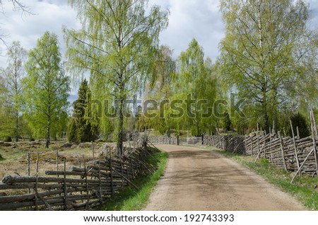 Old fashioned springtime view at a gravel road surrounded of old wooden fences