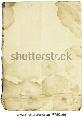 Old-fashioned stained paper with folds and patched with sticky tape. Isolated with clipping paths - stock photo