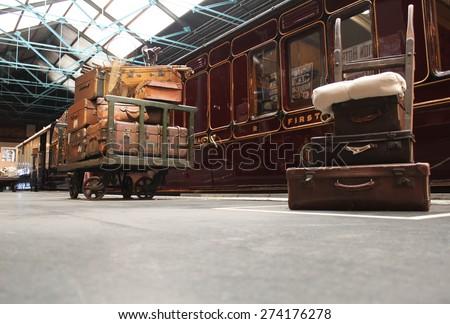 Old Fashioned Steam Railway Platform Scene - stock photo