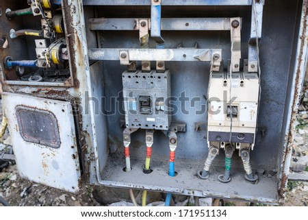 Old fashioned telephone control panel - stock photo
