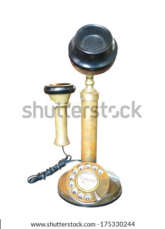 Old-fashioned telephone receiver with cord isolated on white background.  - stock photo