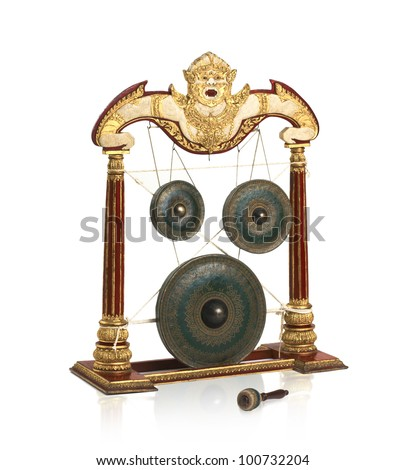 Old fashioned Thai gong musical instrument antique they use in special celebration ceremony - stock photo