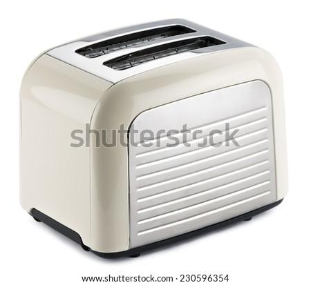 Old fashioned toaster isolated on white background. - stock photo