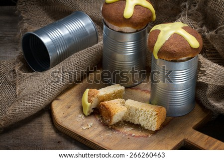 Old fashioned traditional Russian Easter cakes baked in tin cans