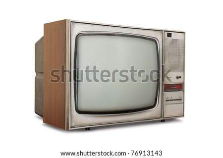 Old-fashioned tube TV isolated on a white background. - stock photo