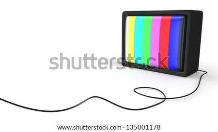 Old-fashioned TV-box with test pattern - stock photo